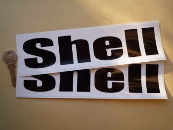 """Shell Black & White Rounded Text Stickers. 16"""" or 19.5"""" Pair."""