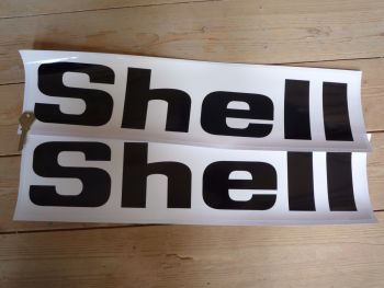 """Shell Black & White Angular Text Stickers. 14"""", 14.5"""", 15.75"""", or 19.5"""" Pair."""