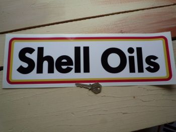 """Shell Oils Type B Thick Oblong Stickers. 10"""" Pair."""