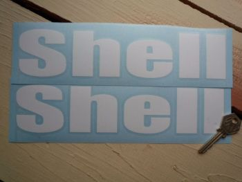 """Shell Cut Out Rounded Text Stickers. 15"""" Pair."""