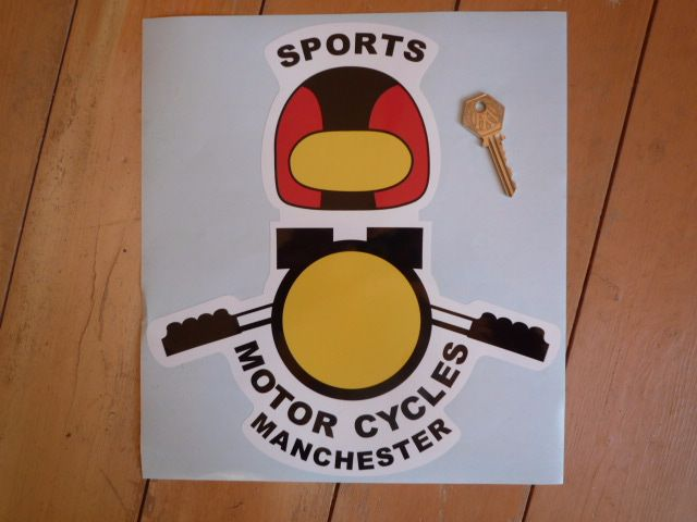"Sports Motorcycles Manchester Shaped Sticker. 10""."