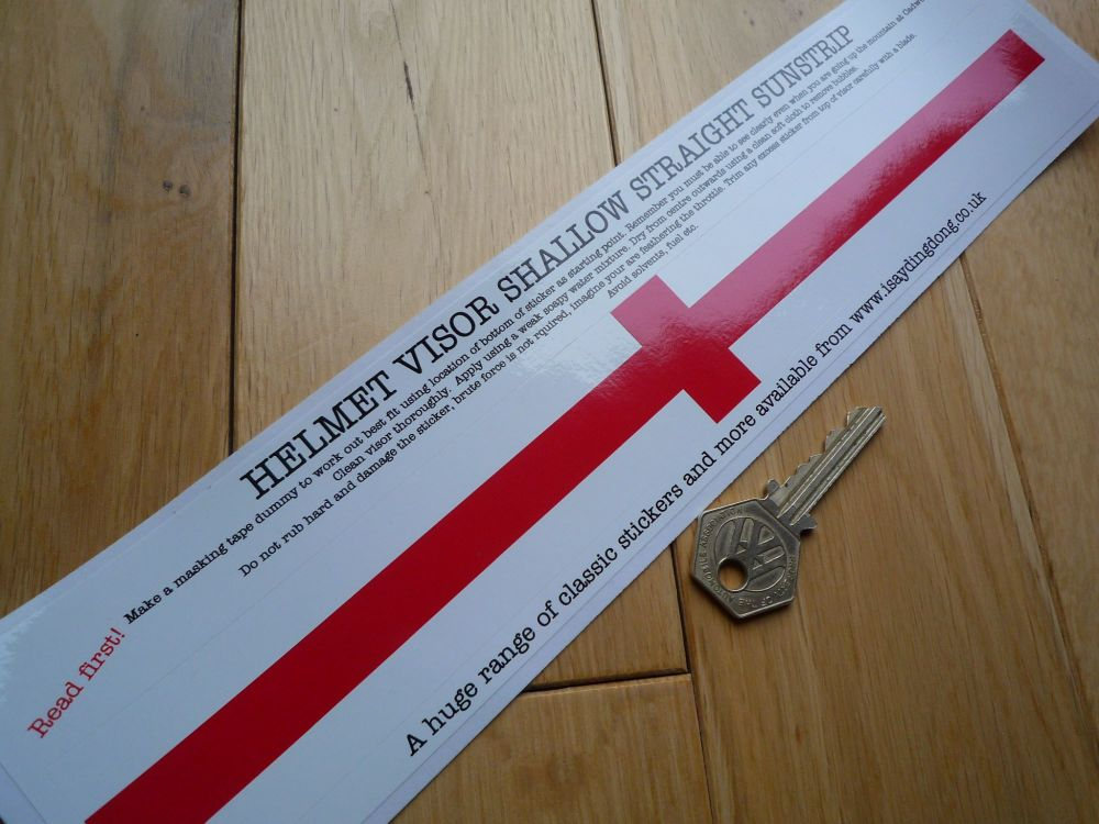 "England St. Georges Cross Flag Style Shallow & Straight Helmet Visor Sticker. 12""."