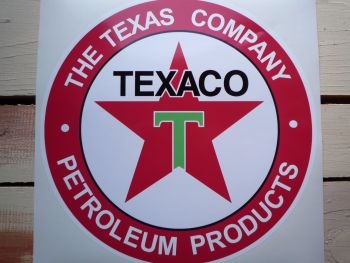 "Texaco Petroleum Products Circular Petrol Pump Sticker. 14"", or 24""."