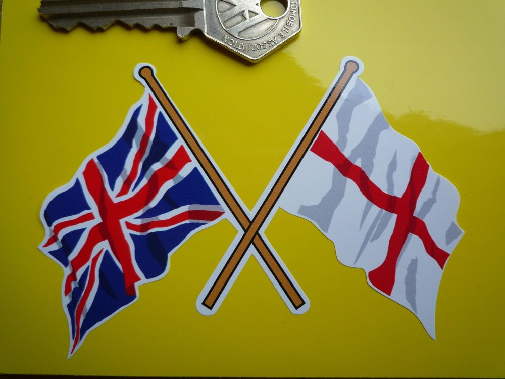"Crossed Union Jack & England St Georges Cross Flag Sticker. 4""."