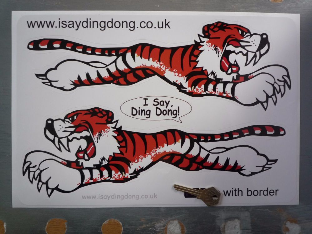 "Leaping Tiger Stickers. White. 14"" Pair."