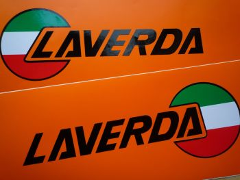 "Laverda Cut Text and Shaped Logo Handed Stickers. 7.5"" Pair."