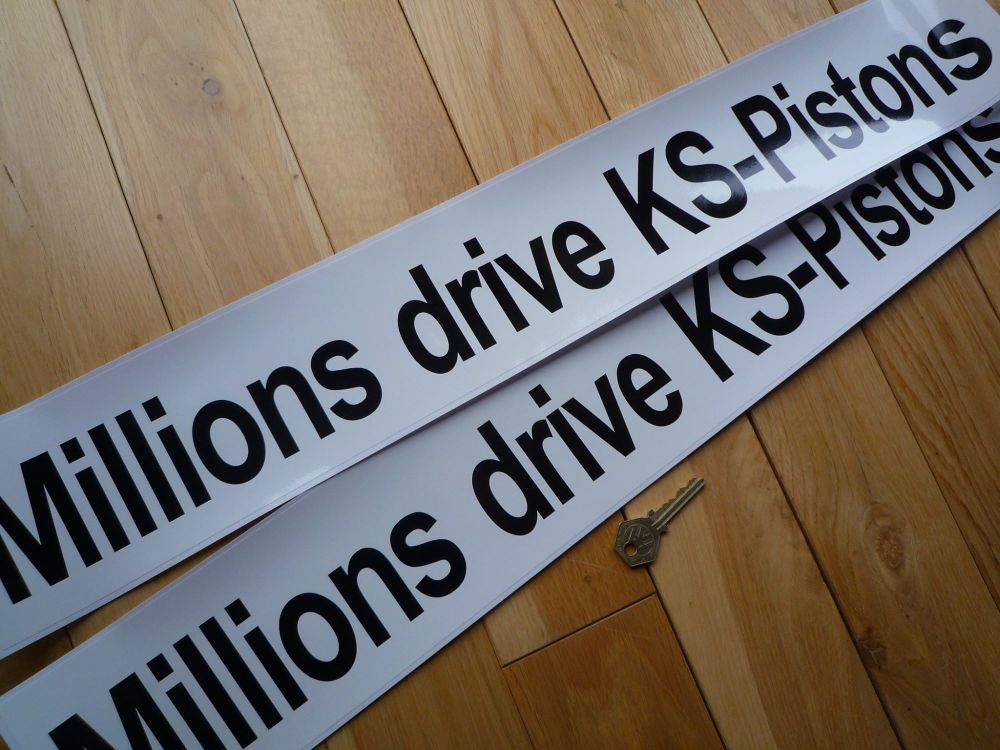 "Millions Drive KS Pistons Plain Text Black & White Car Sticker. 26""."
