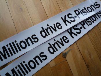 """Millions Drive KS Pistons Plain Text Black & White Car Sticker. 26""""."""