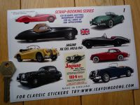 Jaguar XK 120, 140 & 150 Classic Scrapbooking Stickers Small Scale Labels. Set of 10. #1.