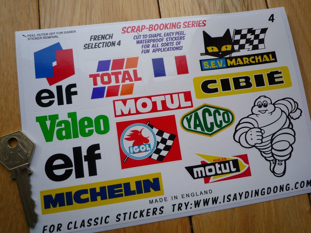 French Classic Racing Range of Scrapbooking Stickers Small Scale Labels. Set of 13. Set #4.