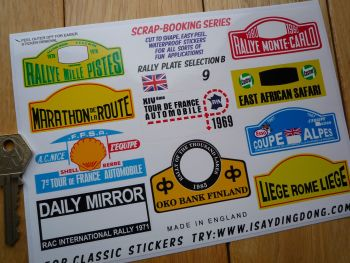 Classic Rally Plate Scrapbooking Stickers Small Scale Rallying Labels. Set of 10. #9.