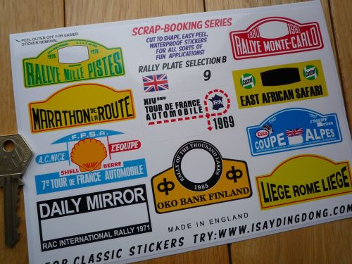 Classic RALLY RALLYE stickers range Scrap-booking series small scale Labels