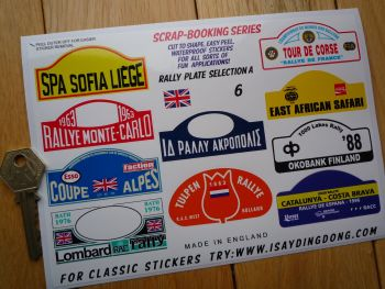 Classic Rally Plate Scrapbooking Stickers Small Scale Rallying Labels. Set of 10. #6.