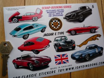 Jaguar E-Type Classic Style Scrapbooking Stickers Small Scale Labels. Set of 11. #5.