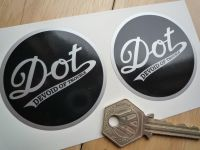 DOT 'Devoid Of Trouble' Circular Stickers. Black & Silver. 60mm Pair.