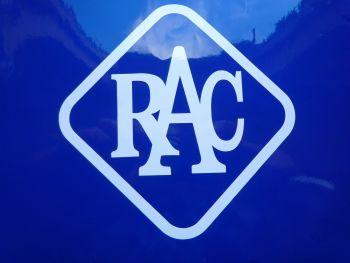 "RAC 60's 70's Style Cut White Vinyl Sticker. 5"" or 8""."