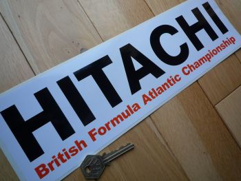 "Hitachi British Formula Atlantic Championship Oblong Sticker. 14""."