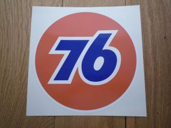 "Union 76 Circular '76' Orange Sticker. 12""."