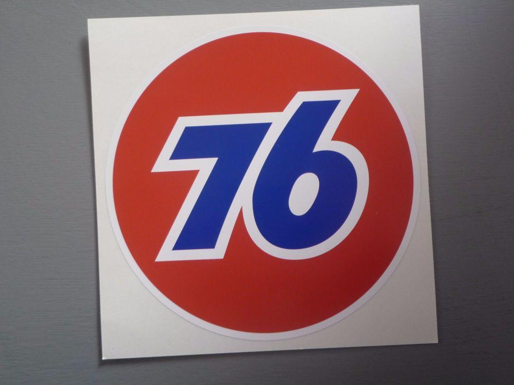 "Union 76 Circular '76' Red Sticker. 12""."