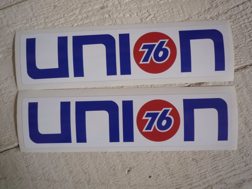 """Union 76 Text Nascar Style Stickers. 16"""" Pair."""