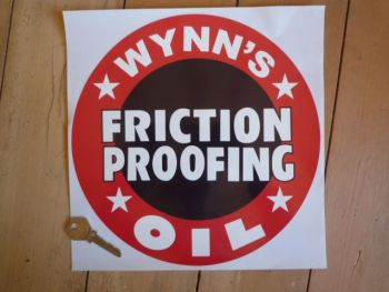 "Wynn's Friction Proofing Oil Circular Sticker. 10"" or 12""."