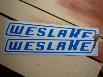 "Weslake Slanted Oblong Logo Stickers. 16"" Pair."