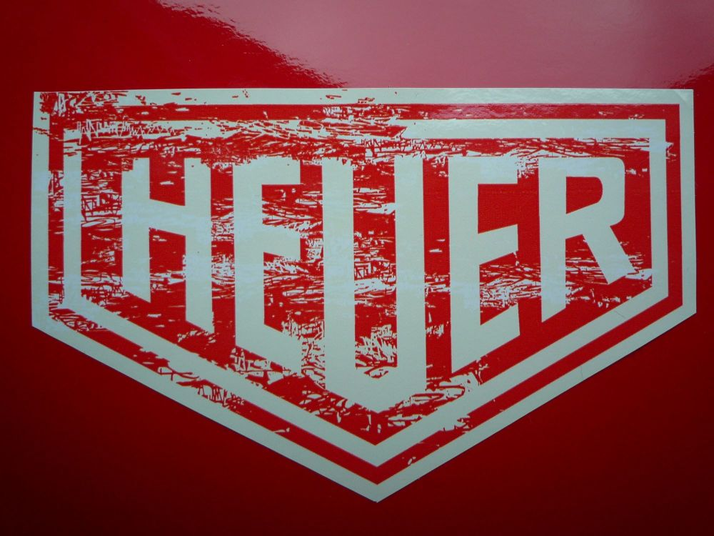 "Heuer Worn & Distressed Style Stickers. 4"" Pair."