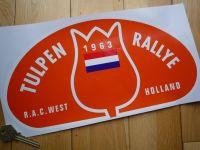 Tulip Rally Tulpenrallye 1963 Orange Rally Plate Sticker. 12.5