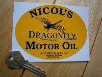 Nicols Dragonfly Motor Oil Oval Black & Yellow Sticker. 4.5
