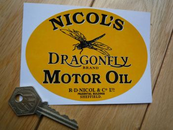 "Nicols Dragonfly Motor Oil Oval Black & Yellow Sticker. 4.5""."