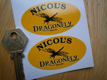 "Nicols Dragonfly Motor Oil Oval Black & Yellow Stickers. 2.5"" Pair."