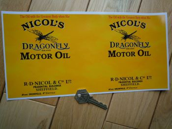 "Nicol's Dragonfly Motor Oil Oblong Can Wrap Sticker. 11""."