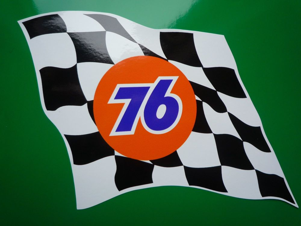 """Union 76 Wavy Chequered Flag Stickers. 6"""" Pair."""