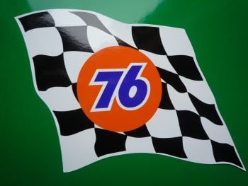 "Union 76 Wavy Chequered Flag Stickers. 6"" Pair."