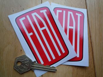 "Fiat 1932 - 1968 Style Logo Shaped Stickers. 4"" Pair."