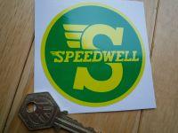 Speedwell Yellow & Green Circular Sticker. 3.25