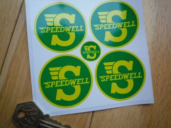 "Speedwell Yellow & Green Circular Stickers. Set of 4. 2""."