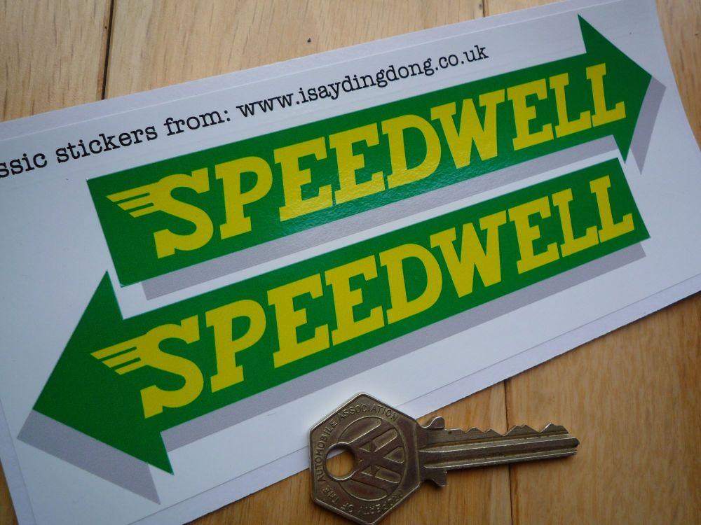 "Speedwell Yellow & Green Arrow Stickers. 6"" Pair."