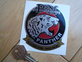"Panther Phelon & Moore, Cleckheaton - Yorkshire Panthers Head Sticker. 3""."