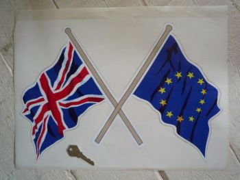 "Union Jack & EU Crossed Flags Sticker. 7.5""."