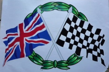 "Crossed Union Jack & Chequered Flag with Garland Sticker. 2.5""."