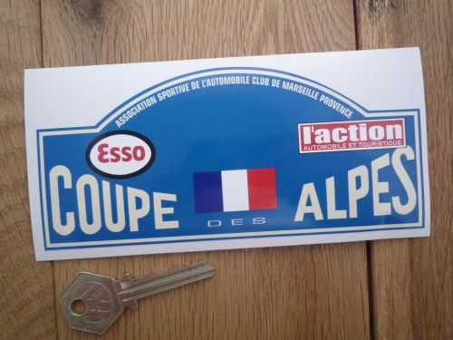 Coupe Des Alpes. Esso. L'action. French Flag. Rally Plate Sticker. 16