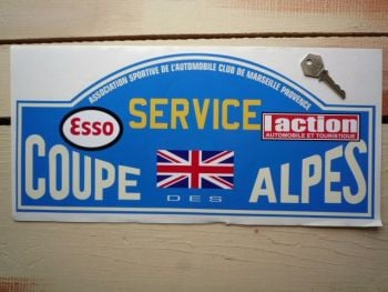 "Coupe Des Alpes. Esso. L'action. Service Rally Plate Sticker. 16""."