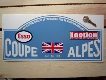 "Coupe Des Alpes. Esso. L'action. Union Jack. Rally Plate Sticker. 16""."
