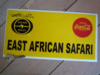 "East African Safari Oblong Rally Plate Sticker. 12""."