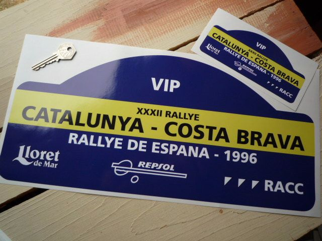 "Rallye De Espana 1996 VIP Rally Plate Style Sticker. 16""."
