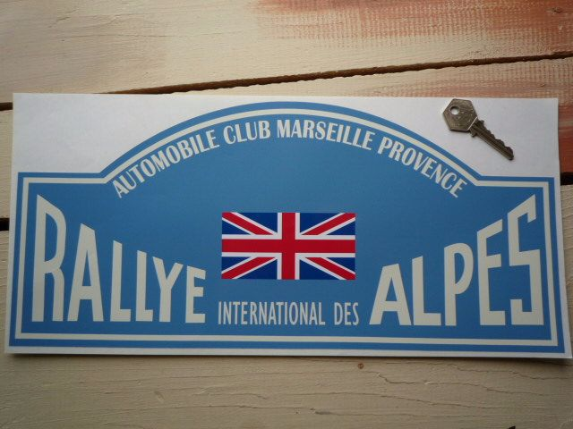 "Rallye International Des Alpes Rally Plate Style Sticker. 16""."