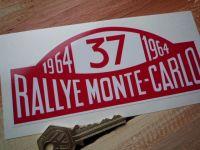 """Mini Cooper S No.37 1964 Monte-Carlo Rallye Winner Plate Sticker. 16""""."""
