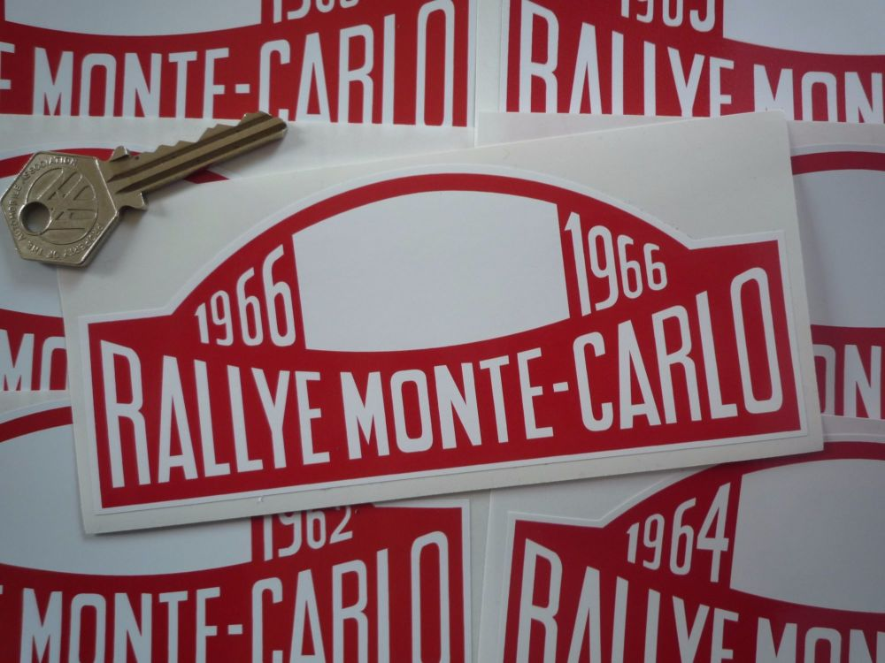 "Monte-Carlo Rallye Rally Plate Stickers. 1961 - 1978. 16""."