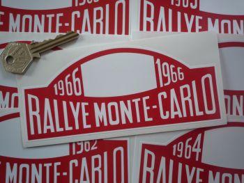 "Monte-Carlo Rallye Rally Plate Stickers. 1961 - 1978. 16""."